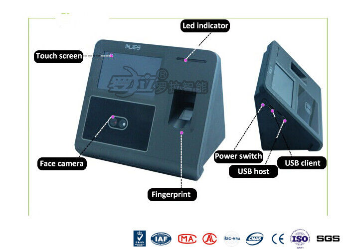 Biometrict Face Identification Access Control System IR Camara TCP IP 4.3 Inch Touch Screen