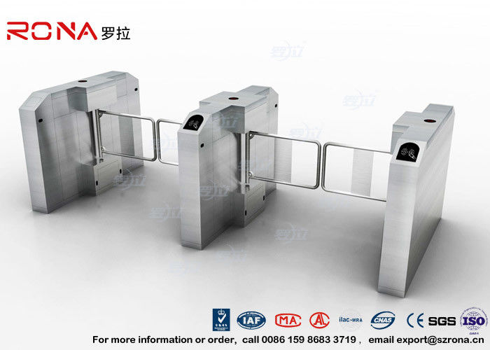Fingerprint Entrance Swing Barrier Gate Stainless Steel For Handicap Channel