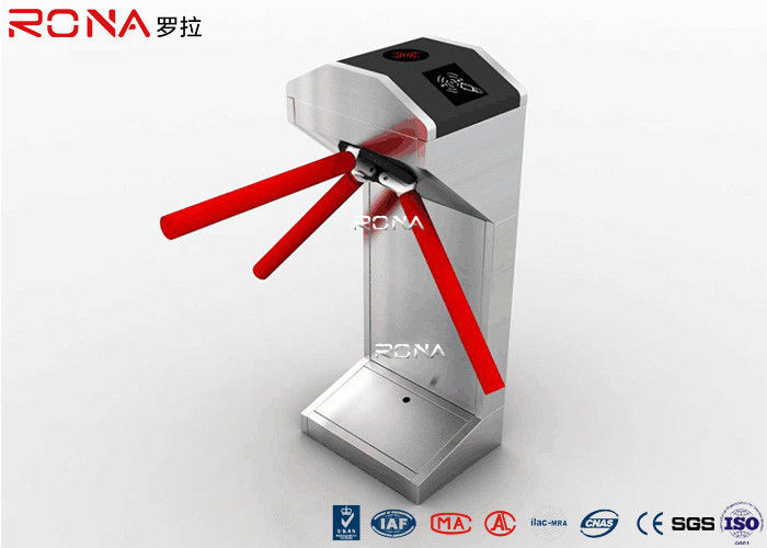 Half Height Tripod Turnstile Gate 304 Stainless Steel Both Directional RFID Card Reader